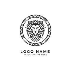King Lion Head Logo Template, Strong Glare Lion Face. Elegant Design Badge, Sticker, Icon, Emblem, Brand Identity Circle Rope Chain Frame