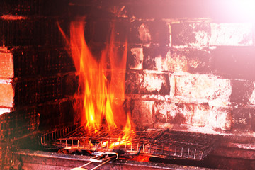 Log fire in a fireplace. Preparation of a shish kebab.