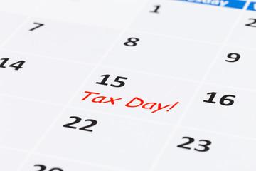 Tax day on calendar