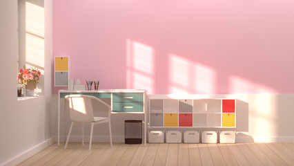 Interior colurful decoration and white chair room,office 3D rendering with sunlight flowers by the window shelves and books with pen on the desk in front of pink wall empty room simple interior design