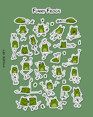 Funny frogs, sticker set for your design