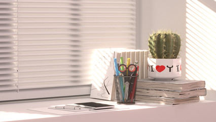 The book is placed at the window and sunshine clean wall on a bright, refreshing keep studying in the first semester