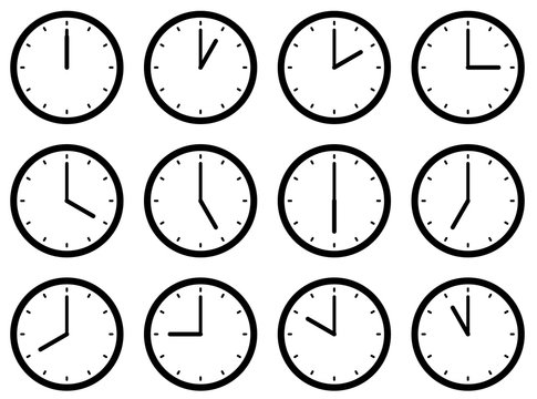 Set of clocks, with the times set at every hour. Vector illustration