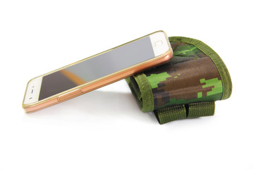 smartphone,casing green fabric camouflage pattern for protection smartphone isolated on white background
