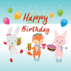 Cute happy birthday greeting card with fox and rabbit.