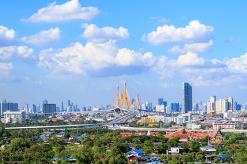 Bhumibol Bridge over Chao Phraya river
