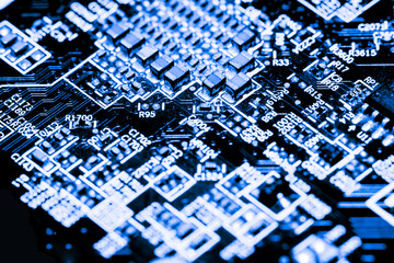Abstract,close up of Circuits Electronic on Mainboard computer Technology background. (logic board,cpu motherboard,Main board,system board,mobo)