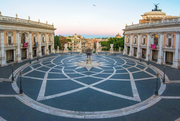 Deurstickers Rome Rome, Italy - The Piazza del Campidoglio square, headquarters of the mayor of Rome, at the dawn.