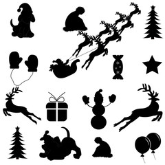 A set of Christmas icons black on a white background