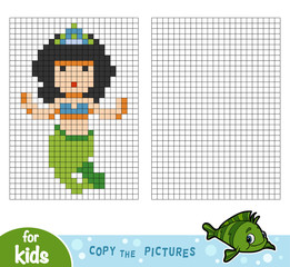 Copy the picture, education game, Mermaid