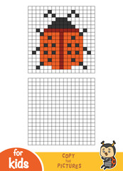 Copy the picture, education game, Ladybug