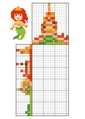 Paint by number puzzle (nonogram), Mermaid
