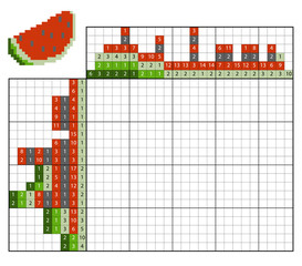 Paint by number puzzle (nonogram), Watermelon