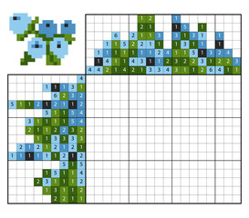 Paint by number puzzle (nonogram), Blueberries