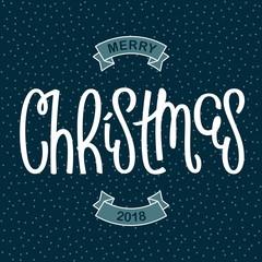 Merry Christmas 2018. Funny comic style festive banner. Handwritten lettering design. Vector illustration