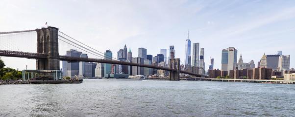 Panoramic view at Brooklyn Bridge view and Manhattan skyline, USA