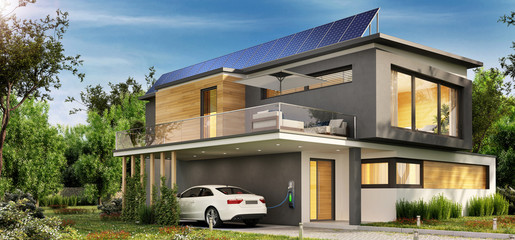 House with solar panels and electric car