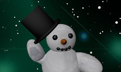 Schneemann zieht zum Gruß seinen Zylinder vom Kopf