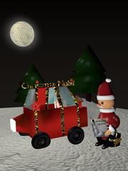 Weihnachtsmann sitzt, neben seinem Auto mit platten Reifen, auf einem Geschenk und liest in einer Zeitschrift mit Schlitten.