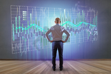 Businessman in front of a wall with  3d render Stock exchange trading