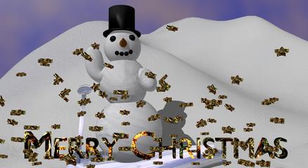 winkender Schneemann mit mit dem englischen Text Frohe Weihnachten