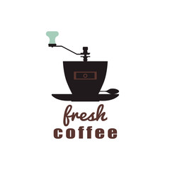 Coffee concept. A cup-grinder and a spoon on a saucer. Expressive logo for the coffee house, cafe, restaurant, shop. Vector illustration.