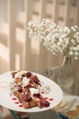 fruit pancakes on plate