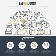 Law and justice concept in half circle with thin line icons: judge, policeman, lawyer, fingerprint, jury, agreement, witness, scales. Vector illustration for banner, web page, print media.