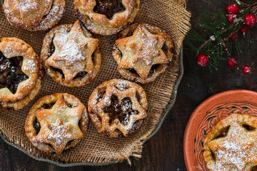 Traditional homemade mince pies. Christmas baking