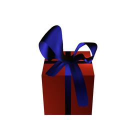 rotes Geschenk mit blauer Schleife auf weiß isoliert