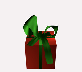 rotes Geschenk mit grüner Schleife
