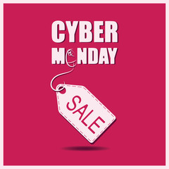 Cyber Monday. PC mouse and whiter label or price tag on red background. Banner, poster for a good deal. Design for printing on fabric or paper.