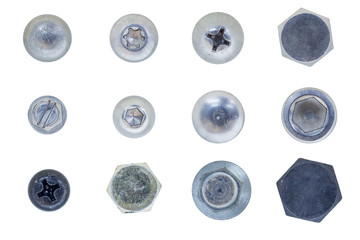 screw, bolt, stud, nut, washer and spring washer isolate on white with clipping path