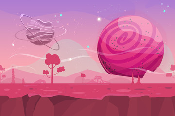 Seamless cartoon vector landscape. Vector endless background with ground, planet, trees, stars and sky layers. Fantasy sci-fi background for UI Game.