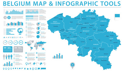 Belgium Map - Info Graphic Vector Illustration