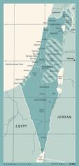 Israel Map - Vintage Vector Illustration