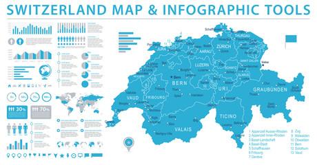 Switzerland Map - Info Graphic Vector Illustration Wall mural