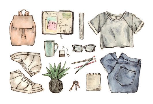 back to school. hand drawing watercolor fashion illustration of clothing, accessories and stationery.