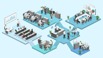 Isometric flat 3d abstract office floor interior departments concept vector.