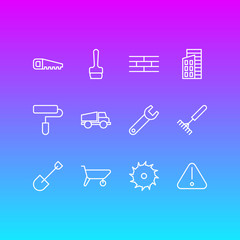 Vector Illustration Of 12 Construction Icons. Editable Pack Of Paintbrush, Hacksaw, Handcart Elements.