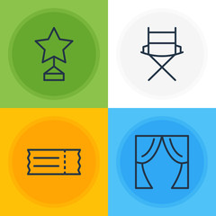 Vector Illustration Of 4 Film Icons. Editable Pack Of Coupon, Shooting Seat, Theater And Other Elements.