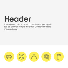 Vector Illustration Of 5 Extra Icons. Editable Pack Of Hosepipe, Lifesaver, Exclamation And Other Elements.