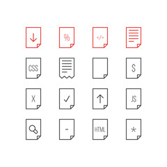 Vector Illustration Of 16 Page Icons. Editable Pack Of Done, Search, Code And Other Elements.