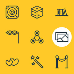 Vector Illustration Of 9 Leisure Icons. Editable Pack Of Soul, Bookshelf, Hand Fidget Elements.