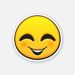 Vector illustration. emoticon for expressing emotion of joy, with smile and squint eyes. Happy emoji character. Icon for expression of feelings. Sticker with contour. Isolated on white background