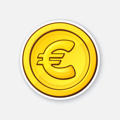 Vector illustration. Gold coin of European Union euro. Cash money. Symbol of business, economy and finance. The symbol of world currencies. Sticker with contour. Isolated on white background