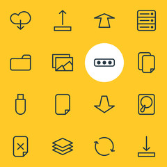 Vector Illustration Of 16 Storage Icons. Editable Pack Of Remove, Gallery, Synchronize And Other Elements.