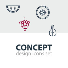 Vector Illustration Of 4 Berry Icons. Editable Pack Of Melon Slice, Exotic Fruit, Vineyard And Other Elements.