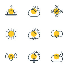 Vector Illustration Of 9 Sky Icons. Editable Pack Of Sunlight, Sun, Moon Month And Other Elements.
