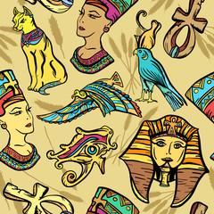 Ancient Egypt seamless pattern, old school tattoo. Pharaoh, ankh, eye Ra, Nefertiti, cat. Ancient Egypt art pattern. Classic flash tattoo style Egypt, patches and stickers